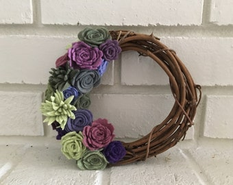 Green and Purple felt succulent wreath