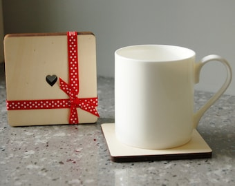 Wooden Heart Coasters (Set of 4)