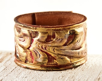 Tooled Leather Cuff, Leather Belt Jewelry, Leather Bracelet, Leather Wristband