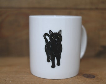 Hand painted animal mug cup - Cute  mug cup -Cat  mug cup - Black Cat 2