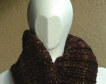 Cowl, mobius scarf, endless scarf, continuous scarf  gaitor brown wheat mahogany multicolored hand knit
