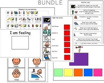 Time for Bed PCS Social Story and Picture Schedule Board for Visual Aid Autism - Bedtime routine bundle
