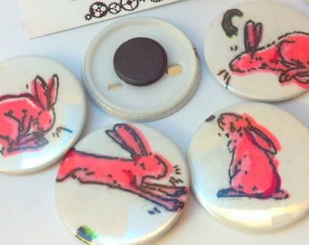 Pink rabbit, 4.5cm magnet, Easter Bunny, bunny magnet, rabbit magnet, bunny rabbit, fridge magnet, magnet, magnets, rabbit gift, bunny gift