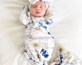 Newborn girl coming home outfit, knotted sleeper, newborn gown, baby girl take home outfit, newborn girl clothes