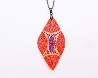 Orange and purple hand painted bamboo diamond necklace