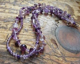 Amethyst and Purple Fluorite Twisted Gemstone Necklace. Light. Dark. Gemstones. Choker. Gift.