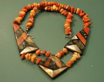 Rare vintage 1970s unused handcrafted apple blossom coral choker necklace designed by Lee Sands