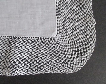 Linen Hankie Wide Crocheted Lover's Knot Lace Border
