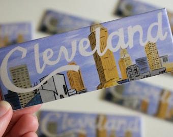 """Cleveland Magnet, CLE, Cleveland Skyline, Cleveland Ohio, Believeland, Lake Erie, Great Lakes, Fridge Magnet, 1.5x4.5"""" Refrigerator Magnet"""