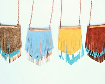 Diffuser necklace, Fringe necklace, Leather fringe necklace, leather necklace