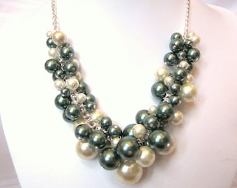 Pearl Cluster Necklace in Dark Green and Cream / Ecru - Party Pearls, Chunky, Choker, Bib, Necklace, Wedding, Bridal, Bridesmaid