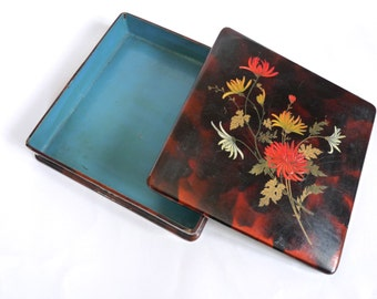 Gorgeous Lacquer Box. French pencil box. Jewelry Box. Hand painted Floral decor. French Papier Mache Box. 1900 / Art Nouveau Collective Box.