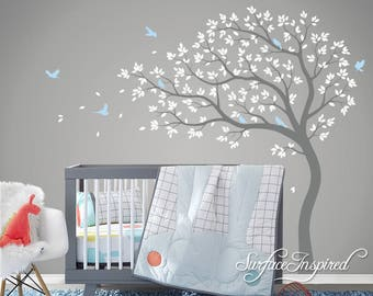 Tree Wall Decal Nursery Large Tree wall decal Wall Mural Stickers Nursery Tree and Birds Wall Art Tattoo Nature Wall Decals Decor