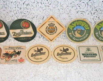 11 vintage beer drink coasters ~ great gift ~ bar ~ German ~ dining ~ man cave ~ collectible