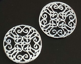 Sale 10pcs - bright silver- Round Filigree connector, link, Pendant - and more..