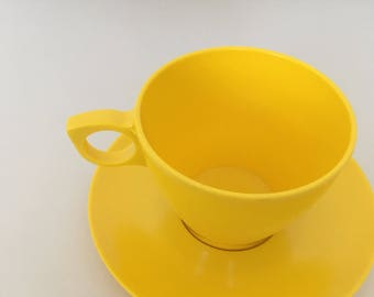 Melmac Cups and Saucers, Sunshine Yellow! - Vintage