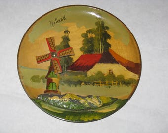 Vintage wooden wall plate Holland souvenir windmill