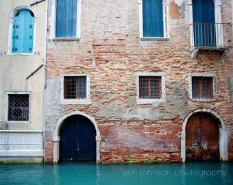 venice photography, architecture, brick building, blue decor, canal, travel photography, europe wall art, Doors & Windows V28