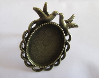 Adjustable ring bronze cabochon 25 x 18 mm