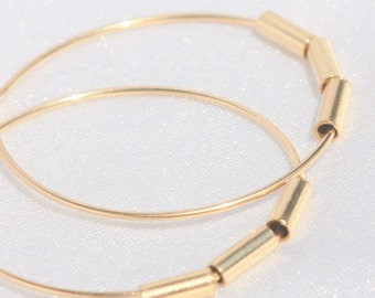 Thin Gold Hoop Earrings, Smooth gold filled bars hoops , tiny gold hoop earring , 14k Gold Filled, Minimalist , Delicate Hoops