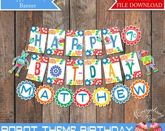 Robot Theme Happy Birthday Bot-day Banner with Name Printable Digital Download