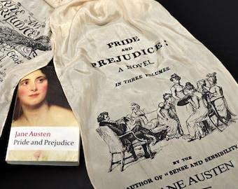 Silk Scarf, Pride and Prejudice by Jane Austen Silk Scarf - Beige Silk Scarf