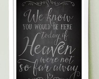 Wedding Sign Signage  Instant Printable / We know you'd be here today if Heaven weren't so far away // CHALKBOARD // MEDIUM SIZE 8x10, 11x14