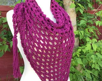 Fuchsia All-Season Triangle Scarf | Women's Crocheted Scarf