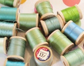 Blue Green Dream..Beautiful Vintage Thread Spools