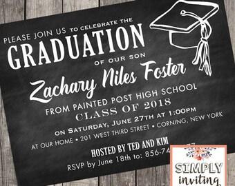 Graduation invitations high school graduation party chalkboard graduation invitations high school graduation invites college graduation party class of 2018 filmwisefo Image collections