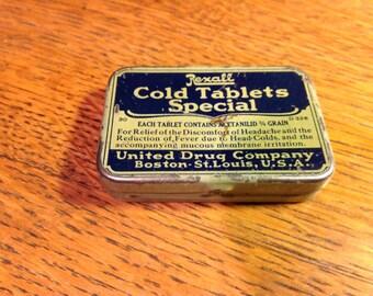 Vintage Medicine Rexall Cold Tablets Special Tin