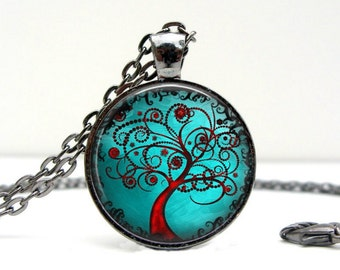 Modern Tree Necklace : Glass Dome Art Picture Pendant Photo Pendant Handcrafted Jewelry  (1188)
