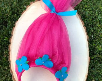 Princess Poppy Headband // Trolls Headband // Trolls Hair Headband // Tulle Headband // Girls Headband // Trolls Costume