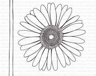 Digital Stamp - Gerbera Flower and Stem Digi Stamp for art, mixed media, art journaling, card making and papercraft