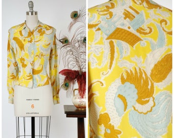 Vintage 1940s Blouse - Rare Novelty Print 40s Silk Blouse with Exceptional Rooster Print in Yellow, Brown, Sky Blue and White