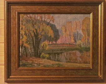 1975 Autumn in the park. Oil Painting. Landscape.Original
