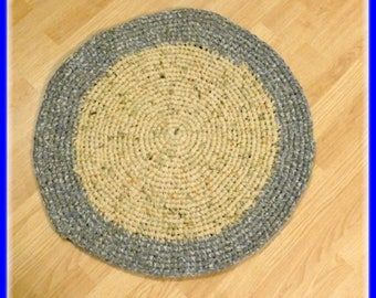 """Clearance Sale Round Rag Rug 26 1/2"""" inches Handmade From Reclaimed Sheets in Tan and Brown"""