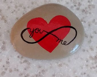 You and Me for Infinity, hand painted rock