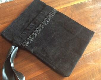 Black Velveteen Bag - tarot bag, divination tools, spell bag
