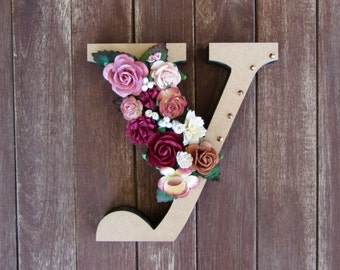 Floral Decorated Wooden Letter - lowercase y / wall nursery birthday wedding office decor