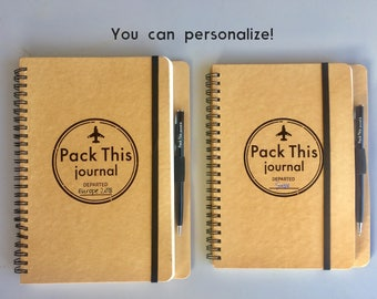 Pack This Journal - Personalized Travel Journal with pockets, Spiral Notebook, Custom Journal, includes pen & Glue Dots