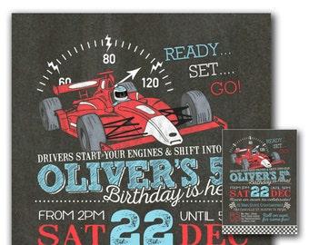 Race car invitation - Race car party invitation - Boys birthday invitation - Chalkboard race car birthday invite - You print indy car