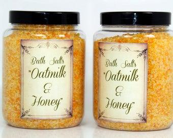 "Bath salts ""Oatmilk&Honey"", soothing bath salts, dry skin bath salts, sensitive skin bath salts,  natural bath salts"