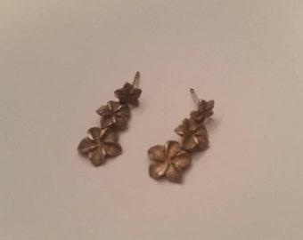 Sterling Silver Flower Earrings Dangle 925