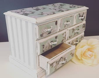 Green and white rose jewelry box -vintage upcycled