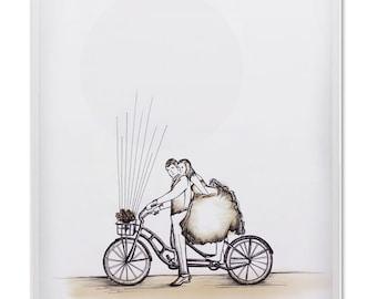Printable Wedding Thumbprint  Bicycle - Guest Book Alternative