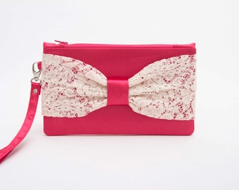 CLEARANCE SALE -Rose  evening clutchwith ivory lace bow ,last one , Bow clutch ,wristelt clutch ,  lace clutch,bridesmaid gift