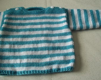 baby 3 months - handmade sweater kind sailor-knitting