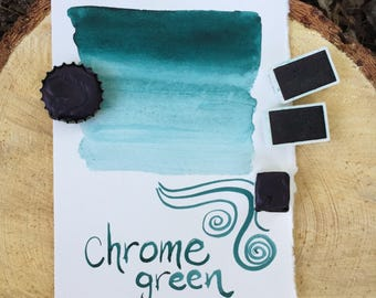 Chrome green. Half pan, full pan or bottle cap of handmade chrome green watercolor paint