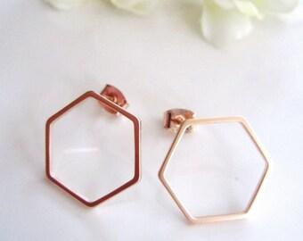 Geometric Rose Gold Earrings, Octagon, Small, Everyday earrings, Modern, Post style Earrings, Minimalist Jewelry, Redpeonycreations